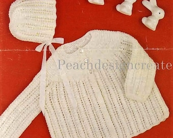 knitting pattern, baby girls, matinee coat and bonnet, pdf, digital download, instant download