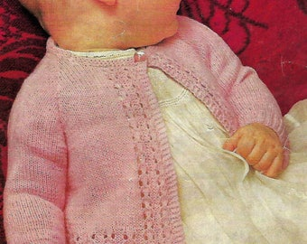 knitting pattern pdf, baby girls matinee jacket, cardigan, coat, sizes 19 to 21 in, instant download, digital download