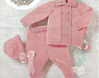 knitting pattern, pdf, baby girls pram set, coat, leggings and bonnet, double knitting, instant download, digital download
