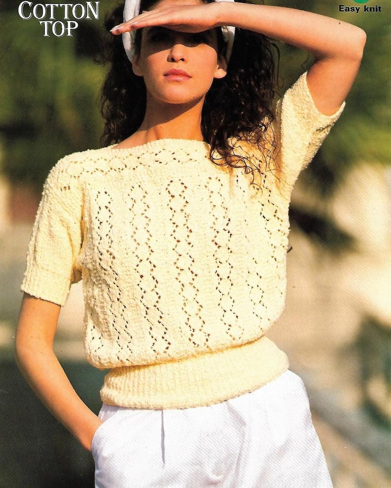6d89f1568f27 PDF knitting pattern women s ladies lace cotton top
