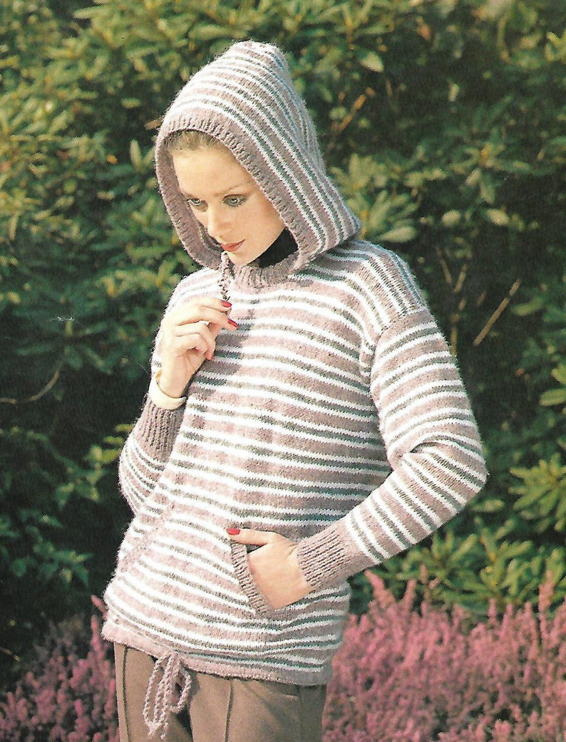 91ac57c9a Knitting pattern women s ladies hoodie sweater pdf