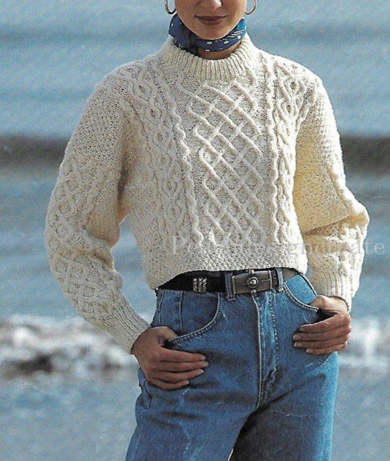 Pdf Knitting Pattern Women S Ladies Aran Cable Knit Crop Etsy