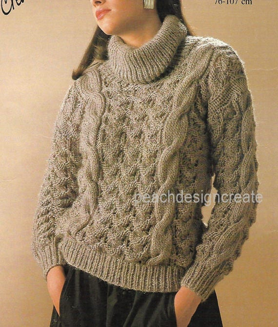 Mens wrap neck sweater jumper knitting pattern 99p