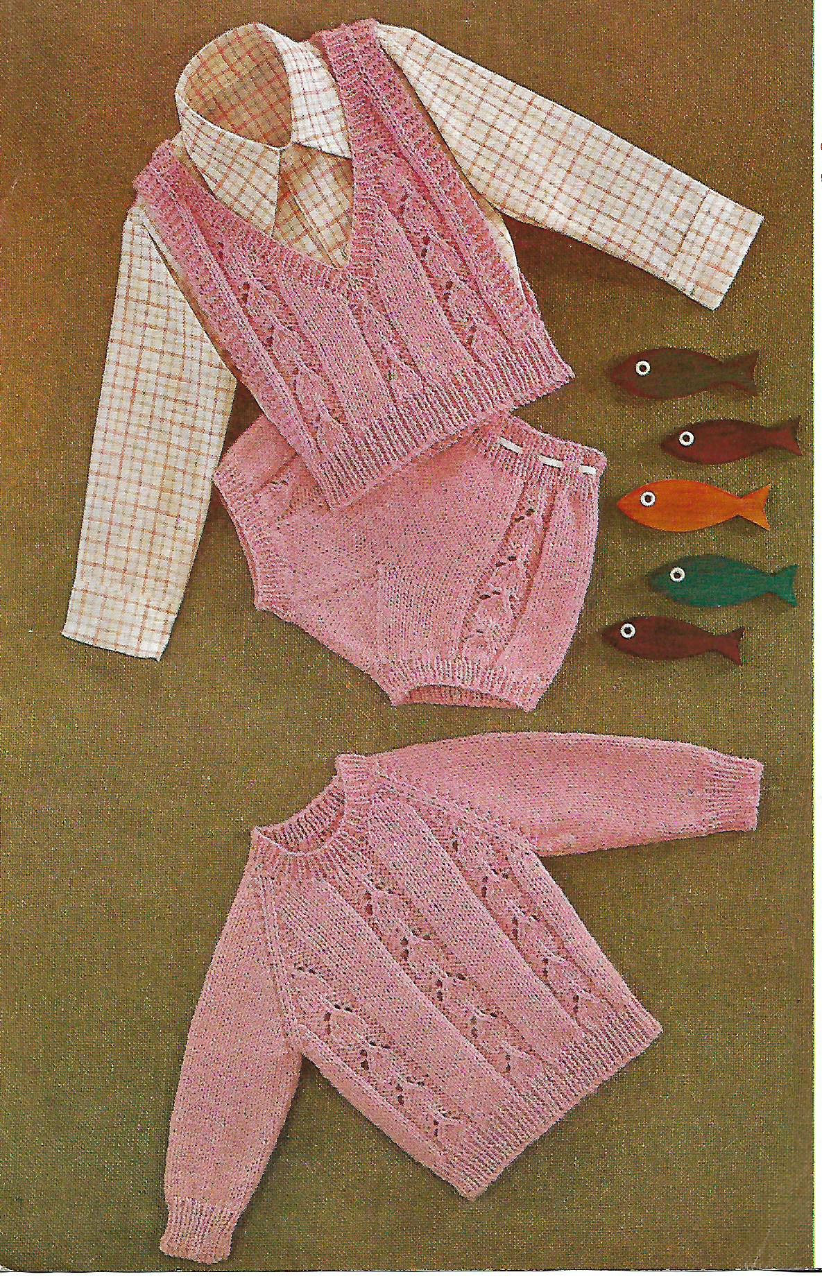 Knitting Pattern Baby Girl S Jumper Slipover Knickers Etsy