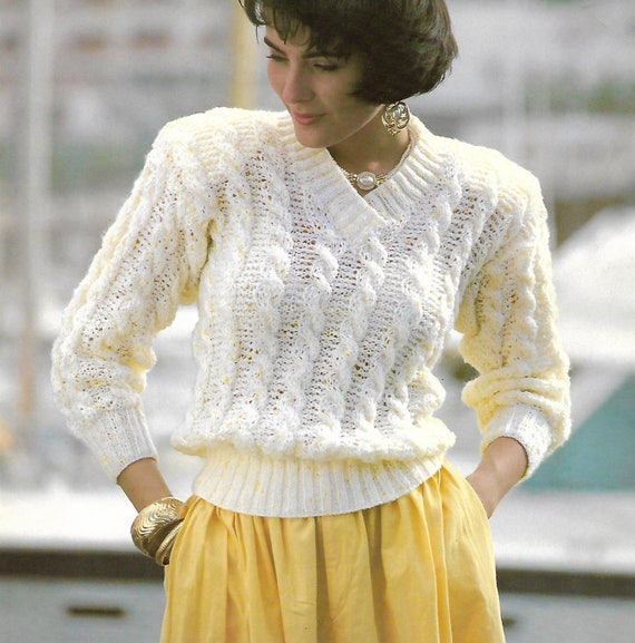 knitting pattern pdf women\'s ladies cable knit sweater   Etsy