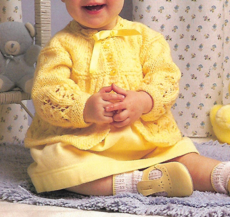 f737a2e31 Knitting pattern pdf baby girl s lace knit matinee coat