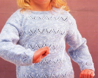 PDF knitting pattern, girls tunic, sweater, jumper, lace knitting, double knitting, 1 to 11 years, digital download, instant download