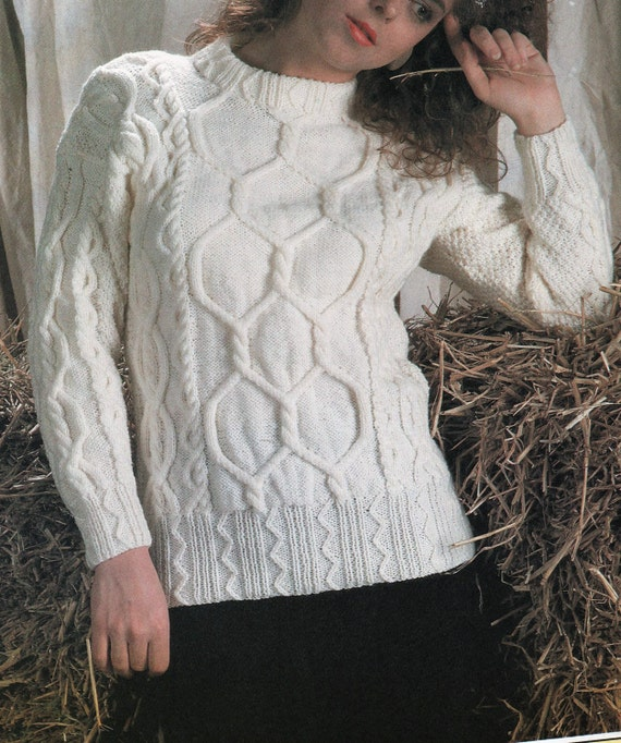 Knitting Pattern Womens Ladies Cable Knit Jumper Winter Etsy