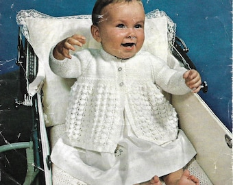 pdf knitting pattern, baby girls matinee coat, jacket, 18-19 inches, digital download, instant download