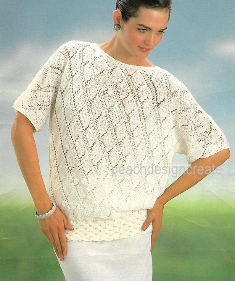 Knitting Pattern Women S Ladies Lace Knit Top Sizes Etsy