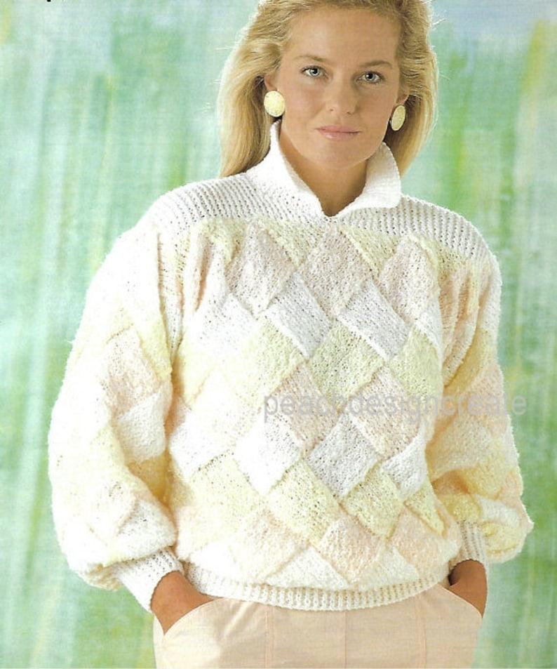 b65932fd3509 Knitting pattern women s ladies trellis patterned sweater