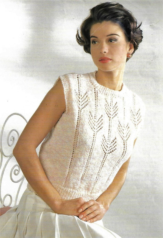 Pdf Knitting Pattern Womens Ladies Lace Knit Top Summer Etsy