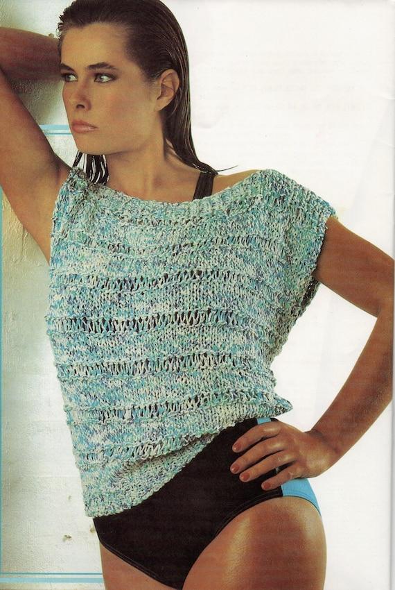 1980\'s vintage knitting pattern, women\'s ladies cotton knit top ...