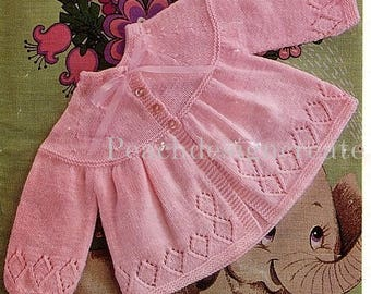 knitting pattern, baby girls matinee coat, sizes 17 to 19 in, pdf, digital download, instant download