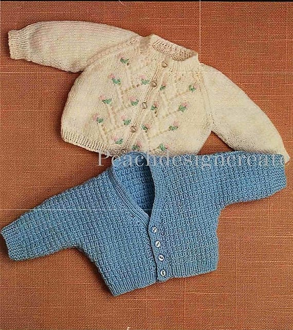 "Baby Girl Boy Top Cardigan Sweater Jumper KNITTING PATTERN DK 14-18/"" Premature"