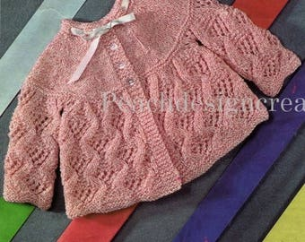 knitting pattern, baby girls matinee jacket, sizes 18-19 in, pdf, digital download, instant download