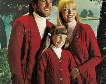 knitting pattern, men's, ladies, boys, girls, family, cable knit cardigan, sizes 24 to 32 in, pdf, digital download, instant download