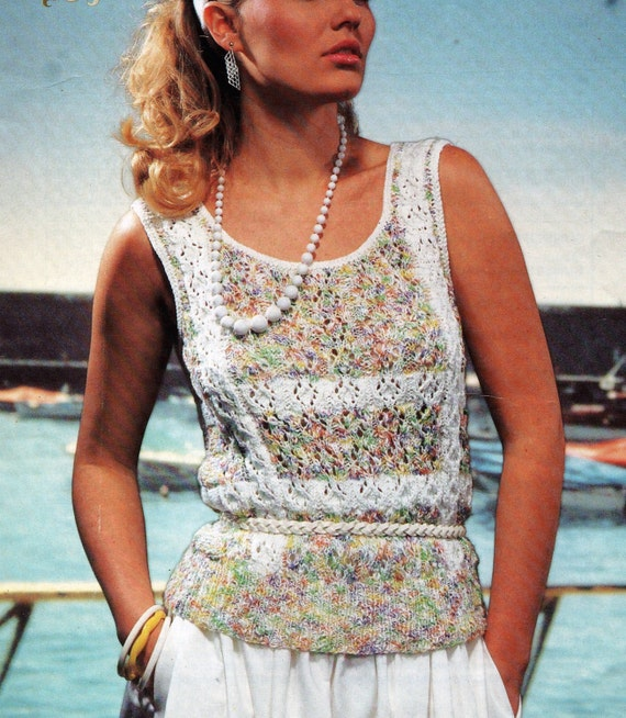 Ladies Cotton Summer Top KNITTING PATTERN lace sleeveless DK 32-38 inch