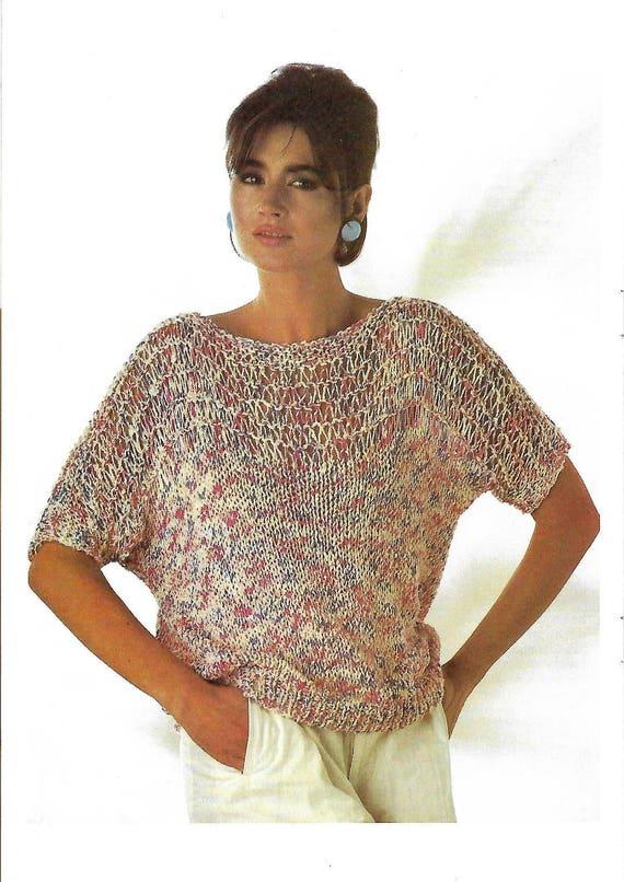 Knitting Pattern Womens Ladies Summer Sweater Jumper Etsy