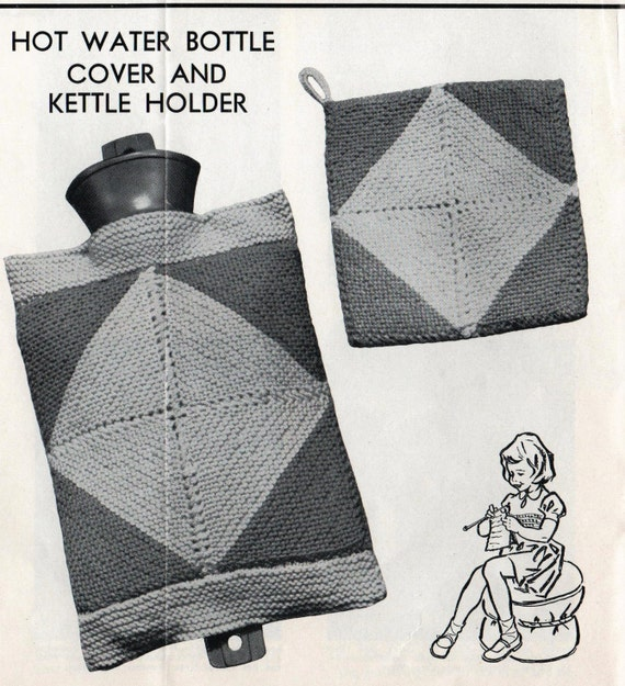 Vintage Knitting Pattern Hot Water Bottle Cover And Kettle Etsy