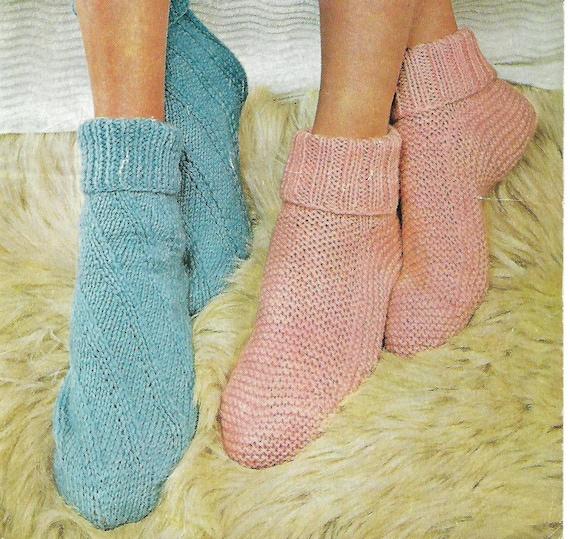 Knitting Pattern Bed Socks Easy Knit Double Knitting Pdf Etsy