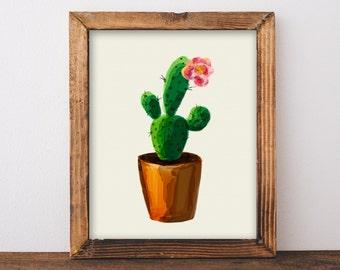 Cactus Print, Cactus Wall Art, Succulent Print, Botanical Print, Cactus Printable, Tropical Print, Printable Art, Instant Download