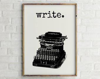 Typewriter Print, Writer Wall Art, Typewriter Poster, Writer Quote Art, Writer Gift Ideas