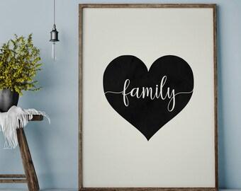 Family Printable, Family Heart Print, Family Sign, Heart Print, Minimalist Art