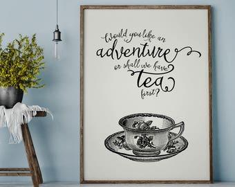 Teacup Quote Print, Teacup Print, Kitchen Printable, Inspirational Quote, Antique Teacup