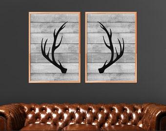 Lovely Antlers Print Set, Antler Prints, Set Of 2, Woodland Decor, Deer Antlers, Antler  Wall Art, Rustic Home Decor, Printable Art Instant Download