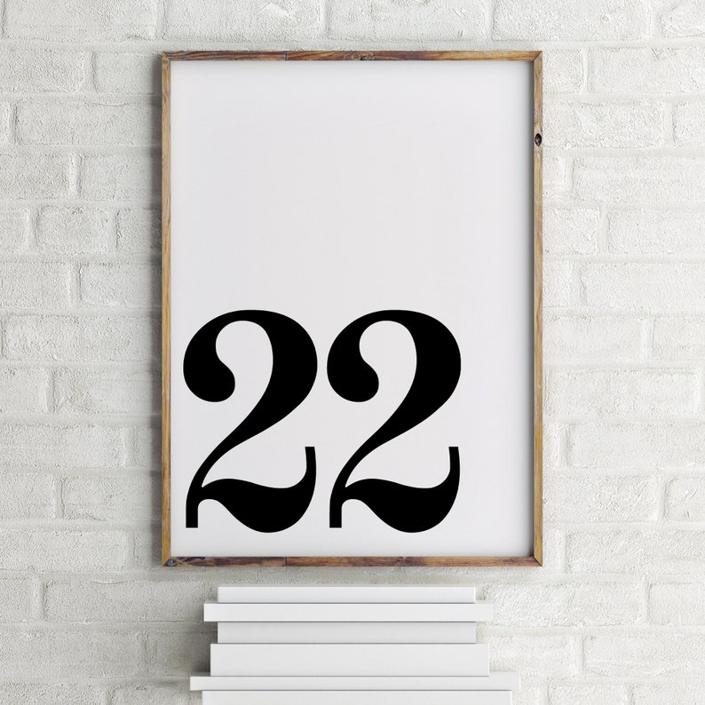 Life Path 22 Minimalist Poster Numerology Scandinavian Print Number Wall Art Number 22 Printable Office Decor