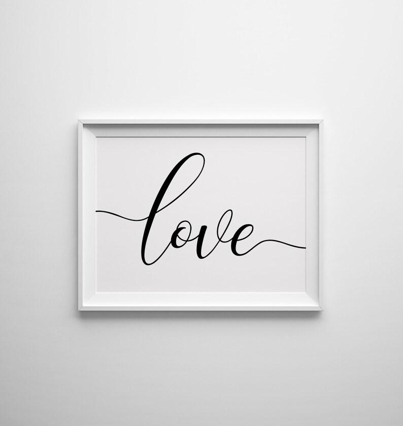 Anniversary Gift Nursery Wall Art Typography Print Bedroom Decor Love Sign