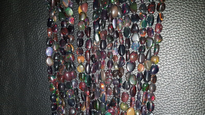 High Quality Ethiopian Opal,Smooth Nuggets Beads 8-7 MM Size 18 Inches Strand Wello Black Opal,Multi Fire Opal