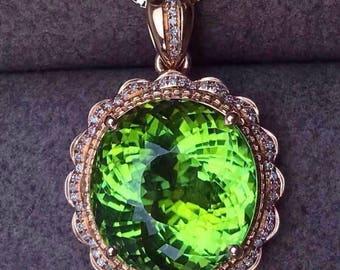 Green Tourmaline Pendant Eye Clean AAA+ Green Tourmaline Faceted Round 14 MM Diamonds 18K Rose Gold Pendant Jewelry