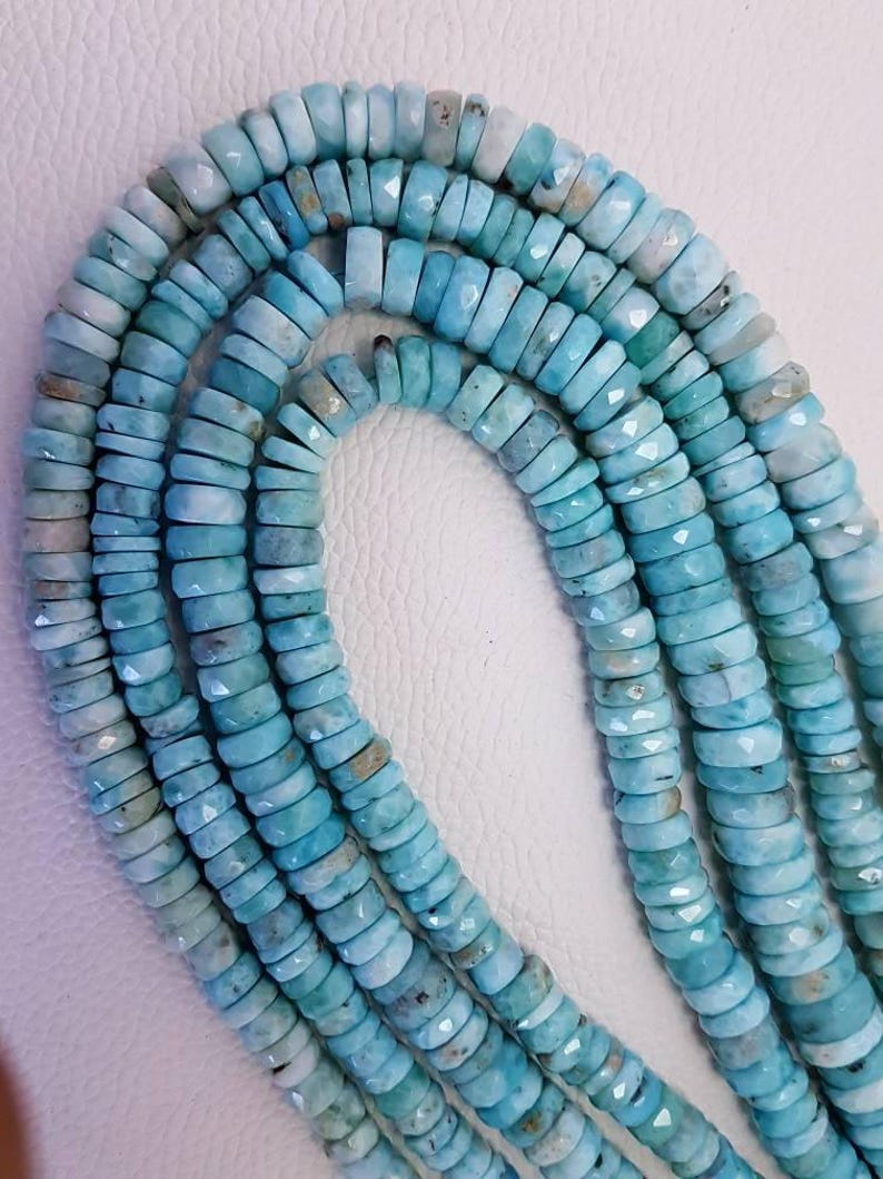Larimar beads Natural larimar faceted beads AAA Quality Rondelles Heishi cut round tyre  beads 7-12.5mm size 8 inches strand Beads Jewelry