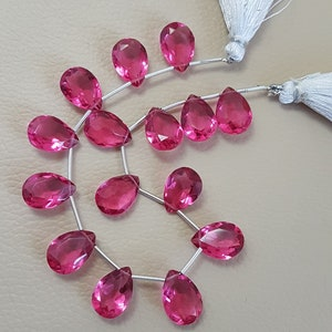 8 Inches Strand Size 12mm Pink Tourmaline Quartz  Faceted Pear Briolettes