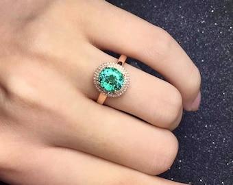 Tourmaline Ring Eye Clean Afghan Origin Sea Foam Tourmaline Faceted Oval 8 x 7.1 MM Diamonds 18K Rose Gold Ring Jewelry
