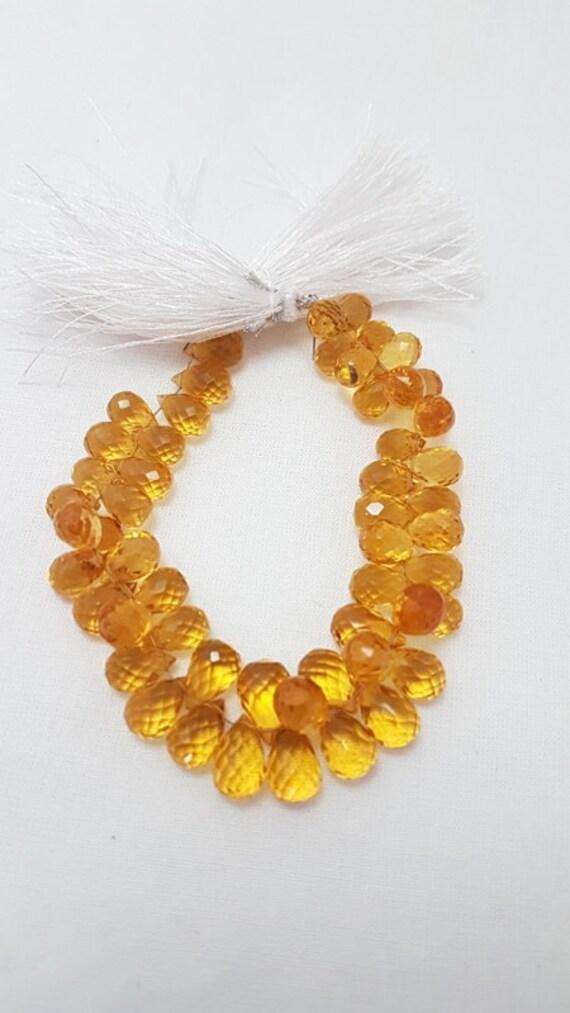 Citrine Quartz Pears Citrine Yellow Quartz Faceted Elongated Tear drop Shape Briolettes Long Size,Loose Gemstone Beads,36mm,8 Inches