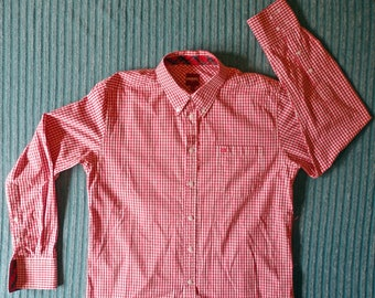 """Merc """"Japster"""" Button Down Long Sleeve Shirt. Red/white Check. Size """"L""""."""