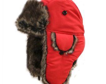 81b643c4d07f6 Capsule Design Extra Warm Winter Solid Bomber Trapper Hat with Faux Fur Red