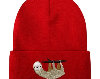 95872a77ac3 Capsule Design Slow Sloth Side Face Basic Ski Winter Beanie Hats Red