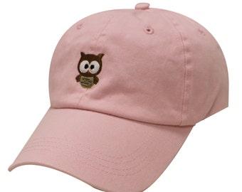 ede1bb197ab Capsule Design Cute Owl Cotton Baseball Dad Cap Pink