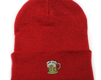 7c9e0fb874e41 Capsule Design Beer Basic Ski Winter Beanie Hats Red