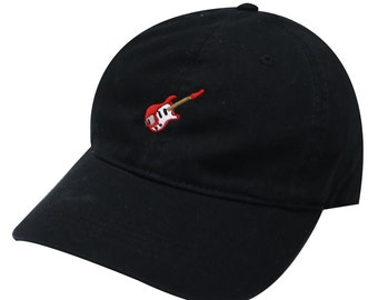 c8f1331aa5a36 Capsule Design Guitar Cotton Baseball Dad Cap Black