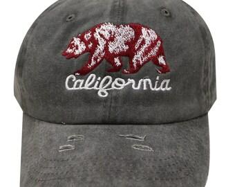 Capsule Design California Republic Vintage Embroidered Ripped Baseball Cap  - Dark Gray 005ca76c33ab