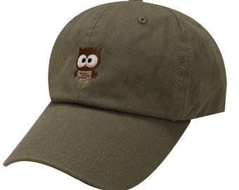 Capsule Design Cute Owl Cotton Baseball Dad Cap Olive 03b9d84c8d2