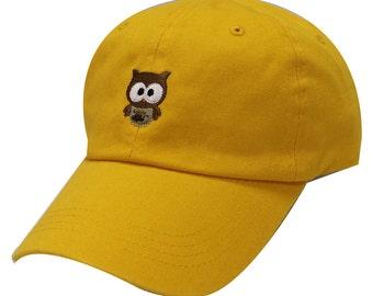 Capsule Design Cute Owl Cotton Baseball Dad Cap Gold 621cdc13704