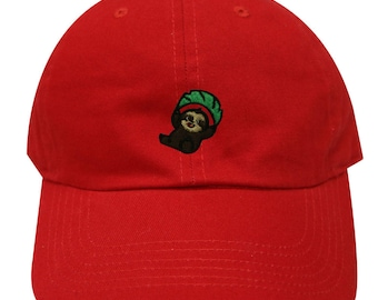 0d29eb6e7f7 Capsule Design Cute Flying Sloth Cotton Baseball Dad Caps Red