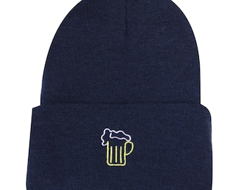 e70dbdc3c512a Capsule Design Neon Sign Beer Basic Winter Beanie Hats Navy