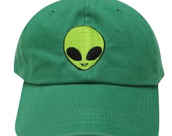 Capsule Design Big Alien Face Embroidered Cotton Baseball Dad Cap Kelly  Green 9b6e89b908a4